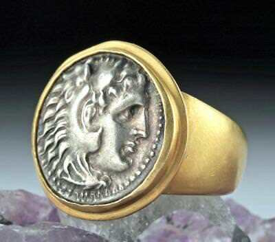 Alexander the Great Silver Drachm Coin in 18K Gold Ring Lot 32