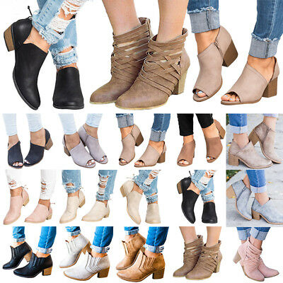 Womens Mid  Heels Booties Ankle Boots Zipper Fashion Low Shoes Wedge Size Pumps