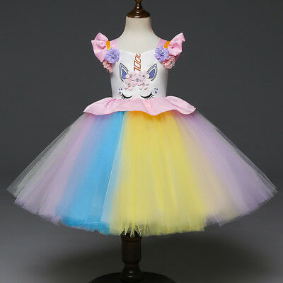 Unicorn Kid Girls Wedding Pageant Tutu Floral Gown Birthday Fancy Dress Costume