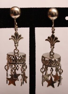 Vintage 3-D Mobile Dangling Stars Screw Back Earrings ~ WOW, AMAZING