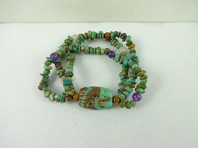 Native American Turquoise Amethyst Tiger's Eye Bead Stretchable Bracelet  32 grm
