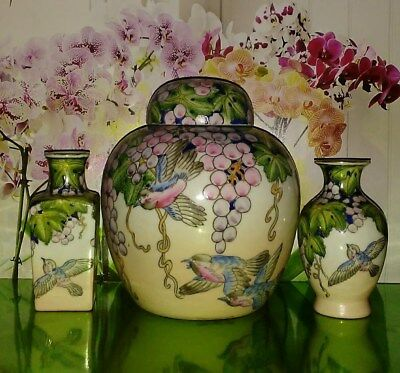 Ginger Jar With Lid Grape Leaves Birds & Two Small Vases Set Of 3