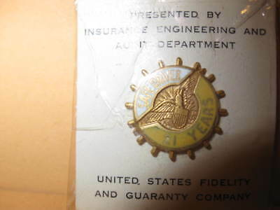 New PIN United States Fidelity Guaranty SAFE DRIVER 21 Years 1/10 10K goldfilled