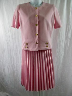 VTG Pablo Collection Sz 14 Skirt Suit Pink Pleated Skirt Short Sleeve Jacket USA