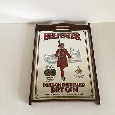 VTG BEEFEATER LONDON DISTILLED DRY GIN MIRRORED Brown Wooden Tray