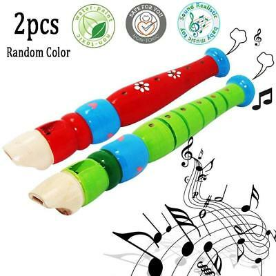 2 pcs Small Wooden Recorders for Toddlers,Colorful Piccolo Flute...