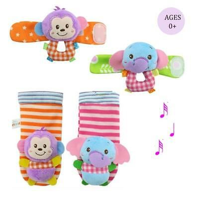 Daisy Infant Baby Soft Plush 4 Animal Wrists Rattle and Foot Finder Socks...