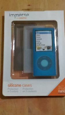 GRIFFIN 3-Pack Cases Apple Ipod NANO 4th Gen Clear/Gray/Blue NEW SEALED