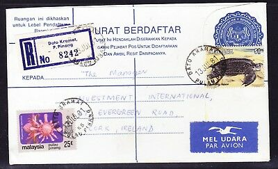 Indonesia 1981 Registered R8242 Penang to Ireland Cover