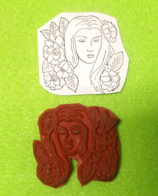 Island Woman women lady rubber stamp flowers floral people unmounted stamps art
