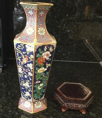 Chinese vase Authentic With Timber Base-44cmsx12cms;base 18cms