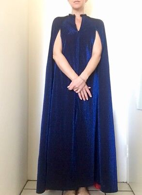 Vintage Opera Cape Sparkley Blue Red Lining Home Made Size Small