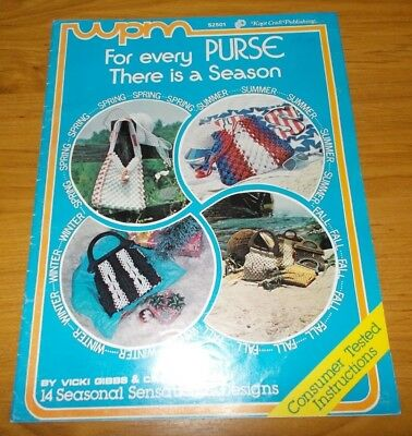 Vintage Macrame Book~For Every Purse There Is A Season~14 Bag Designs~Handbag
