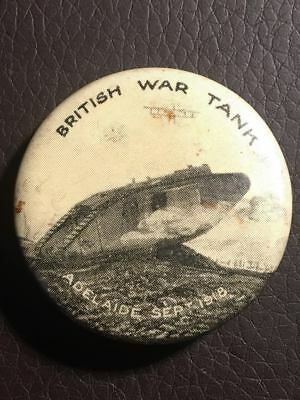 WW1 British War Tank Adelaide September 1918 Button / Patriotic Pin