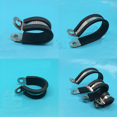 5Pcs 304 Stainless Steel P Clip Hose Pipe Clamp Cable Rubber Lined 6mm-110mm