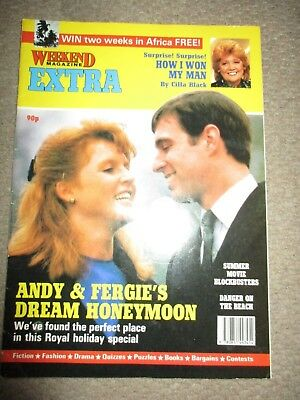 Vintage 1986 UK Prince Andrew Sarah Ferguson Weekend Magazine Cover Clippings
