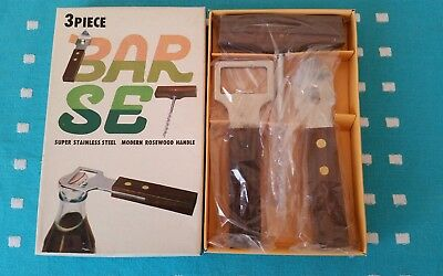 Vintage 3 Piece Bar Set Stainless Steel With Rosewood Handle In Original Box