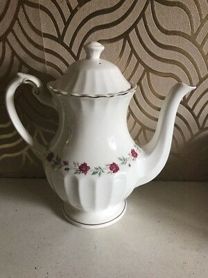 Lovely JG Meakin Classic White Coffee Pot With Rose Design