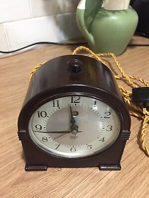 Smiths Sectric Electric Alarm Clock  Art Deco Bakelite  Working And Rewired.