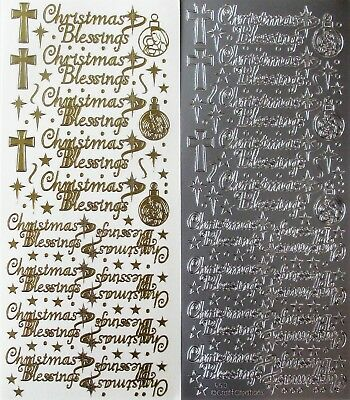 Christmas Blessings PEEL OFF STICKERS Religious Crosses Baubles Stars Dots