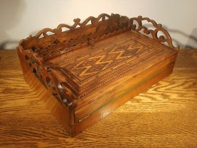 FABULOUS LARGE VICTORIAN DECORATIVELY INLAID COLONIAL STYLED WRITING SLOPE c1885