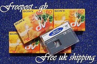 Quality Sony Dvm-4Cld Mini Dv Head Cleaning Tape & 5 Premium Camcorder Cassettes