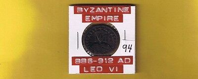 """Ancient Byzantine Empire coin of """"Leo VI"""" the Wise... 886-912 AD... AE Follis"""