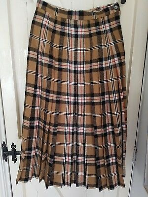 """Vintage Glenscot Burberry Check Skirt,size 12, 28"""" Long.pure New Wool.made In Uk"""