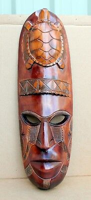 Collectable wood carved tribal ceremonial turtle mask Fiji south sea islands