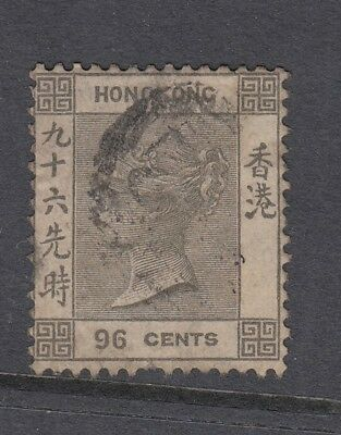 HONG KONG Queen Victoria 1865 SG19 96c brownish-grey good used. Cat £65