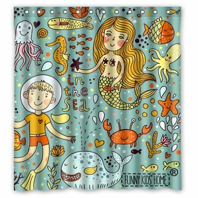 Cartoon Mermaid and Boy Crab Fishes in the Sea/Shower Curtain for Kids/Children-