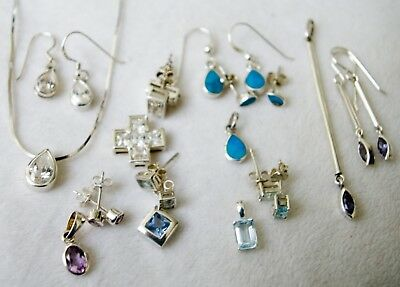 Sterling Silver Chain and Collection of Pendants and Matching Earrings