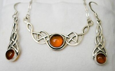 Sterling Silver Amber Necklace & Earrings