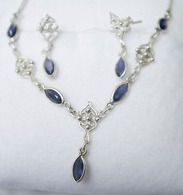 Sterling Silver & Iolite Necklace & Earrings