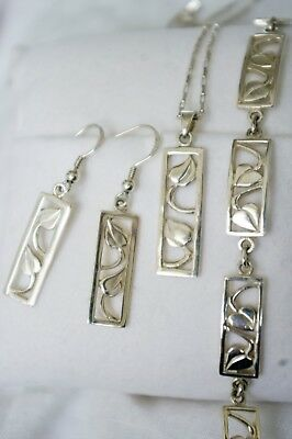 Sterling Silver Charles Rennie Mackintosh Style Necklace, Bracelet & Earrings