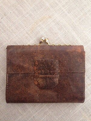Beautiful Vintage Lizard? Leather Wallet With Decorative Metal Clasp