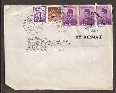 Indonesia 1955 Forces Airmail cover. Posted to Lloyds Bank London