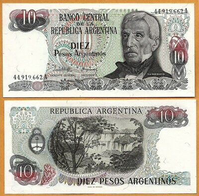 ARGENTINA 1983-1984  UNC 10 Pesos Argentinos Banknote Paper Money Bill P-313a(1)