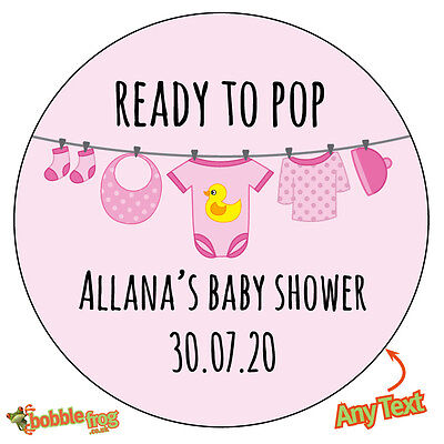 48 x READY TO POP Baby Shower Personalised Stickers Gender Party Bag gift 515