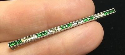 Beautiful Vintage Sterling Silver Square Cut Faceted Crystal Bar Brooch