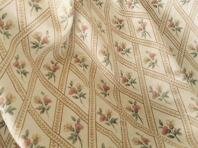 Pair of Vintage  Floral & Trellis Country House Curtains Gold & pink Heavy Lined