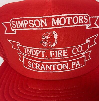 Independent Fire Co Scranton PA Snapback Trucker Cap Hat Vtg Simpson Motors