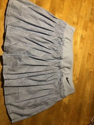 EUC Nike Dri Fit Light Blue Tennis Skirt Skort Built In Shorts Running Med 8-10