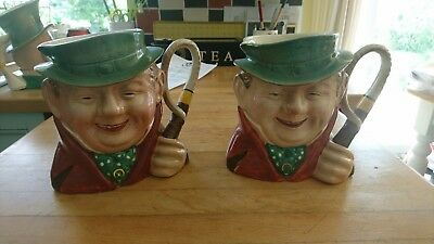 """2 x Beswick Ware 281 Large Toby Character Jug Tony Weller 7"""" collectable"""
