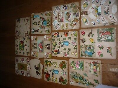 Antique Victorian Scrapbook  pages  with Trade Cards & Scrap black americana