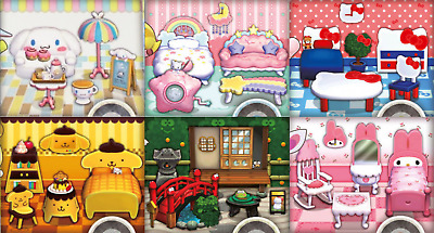 Animal Crossing New Leaf ALL 6 Sanrio Sets + 10 Million Bells