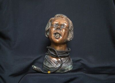 1930 Arturo Levi Art Deco Woman Head Bust Table Cigarette Cigar Lighter