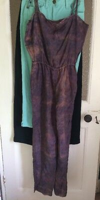 Vintage Early 80's Dressmaker-made Grey Patterned Polyester Silky Jumpsuit, 8/10