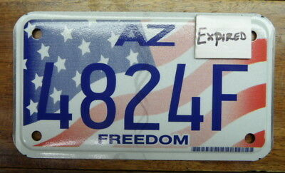 Very Nice, Hard To Find 2007 Base Arizona Freedom Motorcycle License Plate 4824F