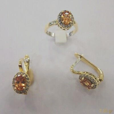 AAA Quality 925 Silver Handmade Jewelry Citrine Earrings - Ring Set